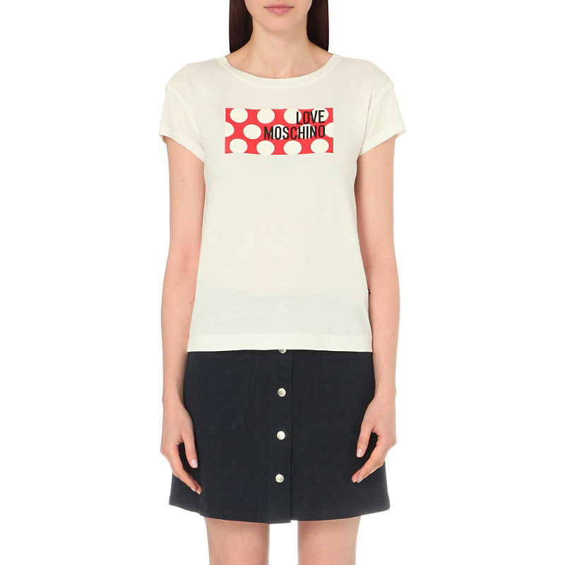 Logo Print Jersey T Shirt, Women's, White - style: t-shirt; predominant colour: white; secondary colour: true red; occasions: casual; length: standard; fibres: cotton - mix; fit: body skimming; neckline: crew; sleeve length: short sleeve; sleeve style: standard; pattern type: fabric; pattern: patterned/print; texture group: jersey - stretchy/drapey; multicoloured: multicoloured; season: s/s 2016; wardrobe: highlight