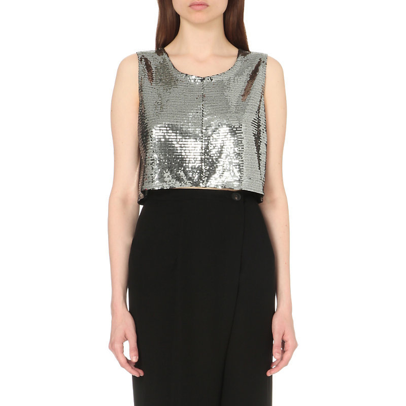 Sequin Embellished Cropped Top, Women's, Silver - neckline: round neck; pattern: plain; sleeve style: sleeveless; length: cropped; predominant colour: silver; occasions: evening; style: top; fibres: polyester/polyamide - 100%; fit: straight cut; sleeve length: sleeveless; pattern type: fabric; texture group: other - light to midweight; embellishment: sequins; season: s/s 2016; wardrobe: event