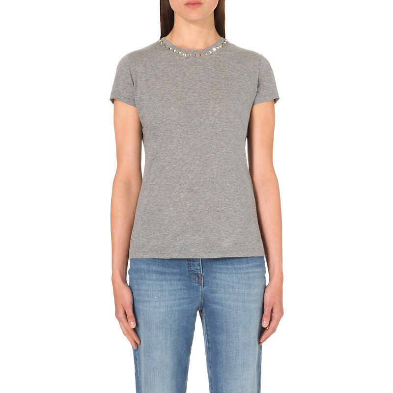 Rockstud Cotton Jersey T Shirt, Women's, Size: Large, Grey - pattern: plain; style: t-shirt; predominant colour: mid grey; occasions: casual; length: standard; fibres: cotton - 100%; fit: body skimming; neckline: crew; sleeve length: short sleeve; sleeve style: standard; pattern type: fabric; texture group: jersey - stretchy/drapey; embellishment: sequins; season: s/s 2016; wardrobe: highlight