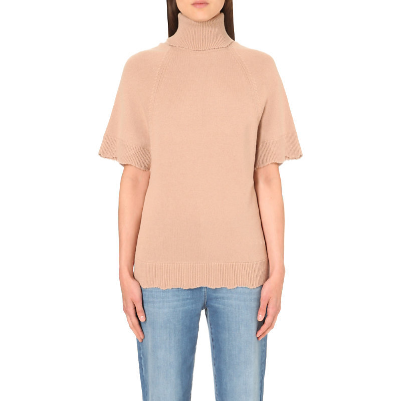 Turtleneck Knitted Top, Women's, Size: Large, Light Salmon - pattern: plain; neckline: roll neck; style: standard; predominant colour: nude; occasions: casual, work, creative work; length: standard; fit: standard fit; fibres: cashmere - 100%; sleeve length: short sleeve; sleeve style: standard; texture group: knits/crochet; bust detail: bulky details at bust; pattern type: knitted - fine stitch; season: s/s 2016; wardrobe: investment