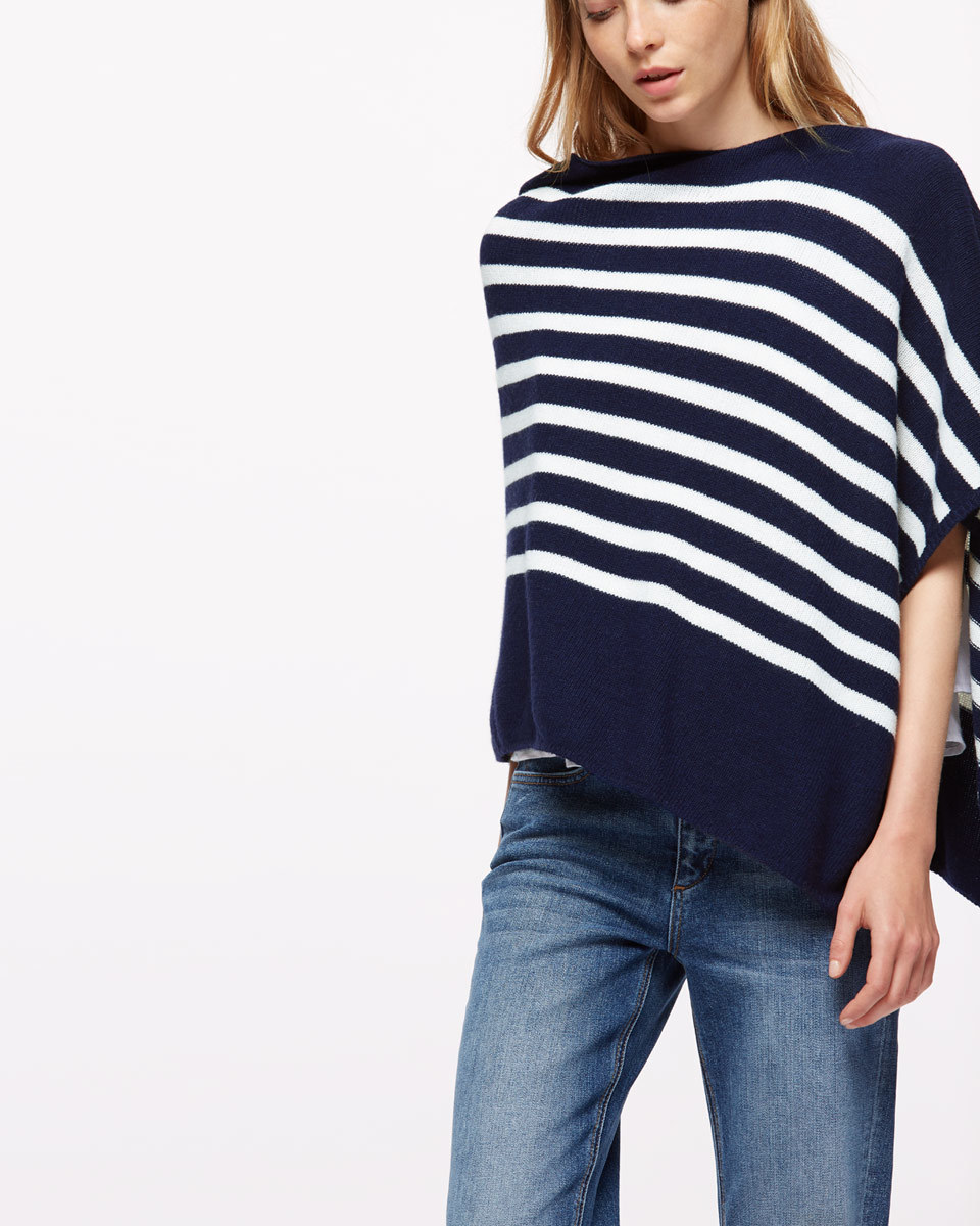 Knitted Stripe Poncho - neckline: slash/boat neckline; pattern: horizontal stripes; style: poncho; secondary colour: white; predominant colour: navy; occasions: casual; length: standard; fibres: wool - mix; fit: loose; sleeve length: half sleeve; sleeve style: standard; texture group: knits/crochet; pattern type: fabric; multicoloured: multicoloured; season: s/s 2016; wardrobe: highlight