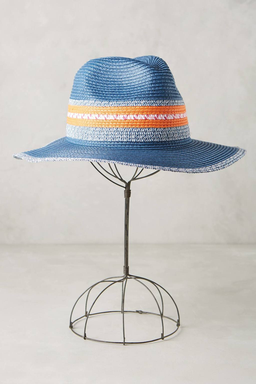 Colorada Rancher - predominant colour: denim; secondary colour: bright orange; occasions: casual; type of pattern: standard; style: fedora; size: standard; material: macrame/raffia/straw; pattern: striped; season: s/s 2016; wardrobe: highlight