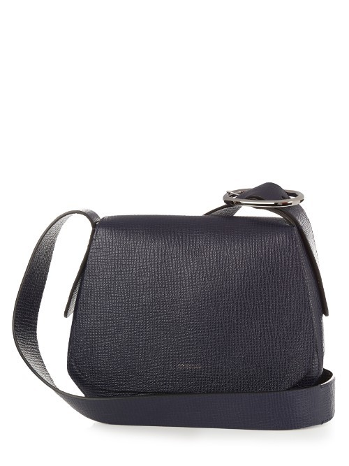 Luigi Cross Body Bag - predominant colour: navy; occasions: casual, creative work; type of pattern: standard; style: saddle; length: shoulder (tucks under arm); size: standard; material: leather; pattern: plain; finish: plain; season: s/s 2016; wardrobe: basic
