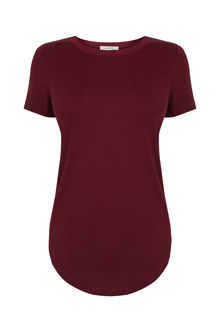 The Multitasking T Shirt - pattern: plain; style: t-shirt; predominant colour: burgundy; occasions: casual; length: standard; fibres: viscose/rayon - 100%; fit: body skimming; neckline: crew; sleeve length: short sleeve; sleeve style: standard; pattern type: fabric; texture group: jersey - stretchy/drapey; season: s/s 2016