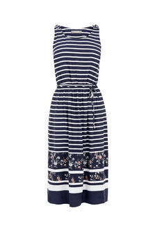 Stripe And Bloom Midi Dress - style: shift; length: below the knee; neckline: round neck; fit: fitted at waist; pattern: horizontal stripes; sleeve style: sleeveless; secondary colour: white; predominant colour: navy; occasions: casual; fibres: viscose/rayon - 100%; sleeve length: sleeveless; pattern type: fabric; texture group: jersey - stretchy/drapey; season: s/s 2016; wardrobe: basic