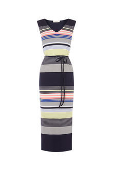 Stripe Midi Dress - style: shift; length: calf length; neckline: v-neck; pattern: horizontal stripes; sleeve style: sleeveless; waist detail: belted waist/tie at waist/drawstring; secondary colour: light grey; predominant colour: black; occasions: casual; fit: body skimming; fibres: viscose/rayon - 100%; sleeve length: sleeveless; pattern type: fabric; texture group: jersey - stretchy/drapey; multicoloured: multicoloured; season: s/s 2016; wardrobe: basic