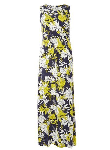 Womens Navy/Lime Maxi Dress Blue - sleeve style: sleeveless; style: maxi dress; length: ankle length; secondary colour: navy; predominant colour: yellow; fit: body skimming; fibres: viscose/rayon - 100%; occasions: occasion; neckline: crew; sleeve length: sleeveless; pattern type: fabric; pattern: patterned/print; texture group: jersey - stretchy/drapey; multicoloured: multicoloured; season: s/s 2016; wardrobe: event