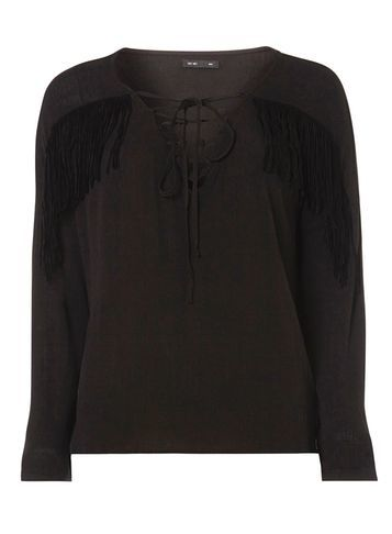 Womens **First & I Black Fringed Top Black - neckline: v-neck; pattern: plain; bust detail: added detail/embellishment at bust; predominant colour: black; occasions: casual; length: standard; style: top; fibres: viscose/rayon - 100%; fit: body skimming; sleeve length: long sleeve; sleeve style: standard; pattern type: fabric; texture group: jersey - stretchy/drapey; embellishment: fringing; season: s/s 2016
