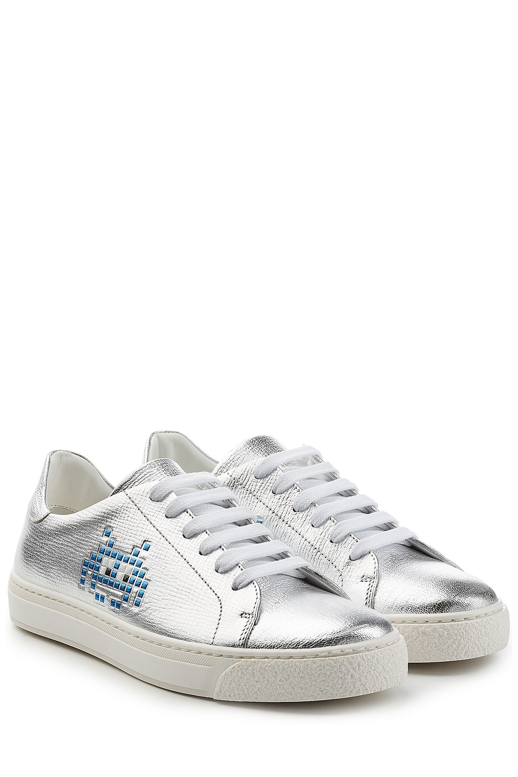 Space Invader Metallic Leather Sneakers - predominant colour: silver; occasions: casual, activity; material: leather; heel height: flat; toe: round toe; style: trainers; finish: metallic; pattern: plain; season: s/s 2016