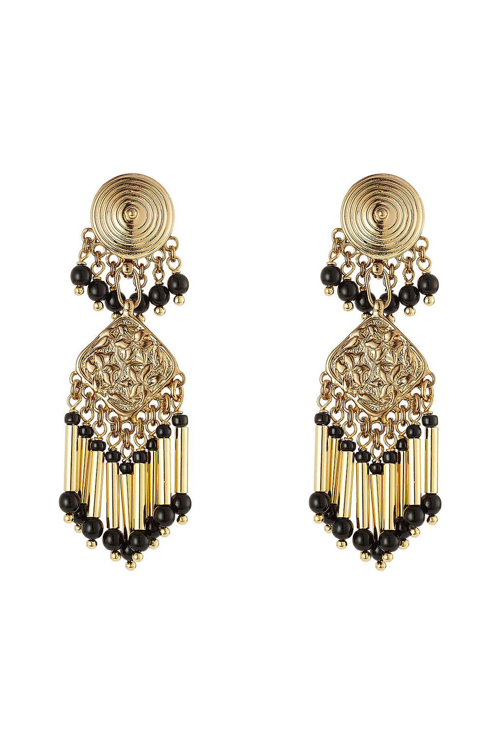 Bead Embellished Earrings - predominant colour: gold; secondary colour: black; occasions: evening, occasion; style: drop; length: long; size: standard; material: chain/metal; fastening: pierced; finish: metallic; embellishment: beading; season: s/s 2016; wardrobe: event