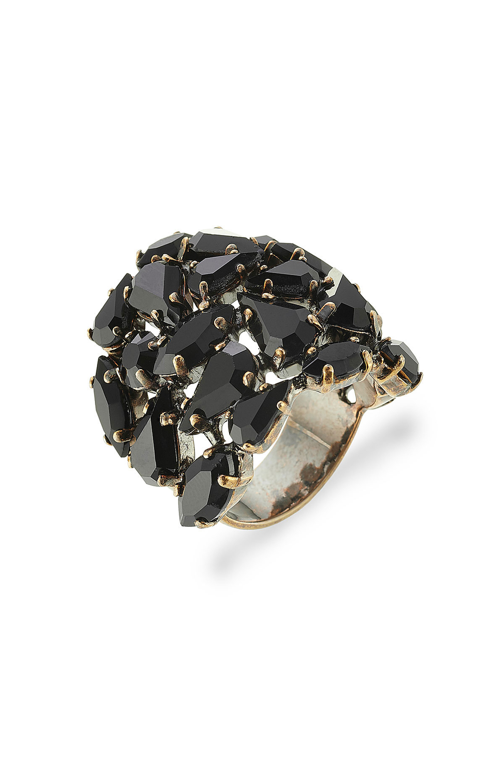Embellished Ring - predominant colour: black; occasions: evening, occasion; style: cocktail; size: large/oversized; material: chain/metal; finish: metallic; embellishment: jewels/stone; season: s/s 2016; wardrobe: event