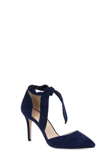 Suede Ankle Tie Court Shoe - predominant colour: black; occasions: evening, occasion; material: suede; heel height: high; ankle detail: ankle tie; heel: stiletto; toe: pointed toe; style: courts; finish: plain; pattern: plain; season: s/s 2016; wardrobe: event