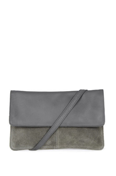 Suede & Leather Crossbody Bag - predominant colour: mid grey; occasions: evening; type of pattern: standard; style: clutch; length: across body/long; size: standard; material: faux leather; finish: plain; pattern: colourblock; season: s/s 2016; wardrobe: event