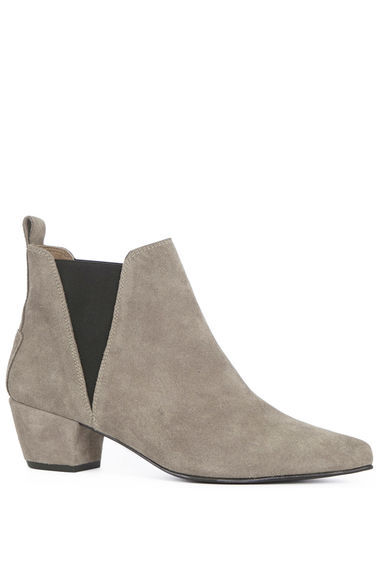 Suede Ankle Boot - predominant colour: light grey; secondary colour: black; occasions: casual, creative work; material: suede; heel height: mid; heel: block; toe: pointed toe; boot length: ankle boot; finish: plain; pattern: plain; style: chelsea; season: s/s 2016; wardrobe: basic
