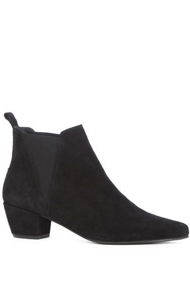 Suede Ankle Boot - predominant colour: black; occasions: casual, creative work; material: suede; heel height: mid; heel: block; toe: pointed toe; boot length: ankle boot; finish: plain; pattern: plain; style: chelsea; season: s/s 2016; wardrobe: basic