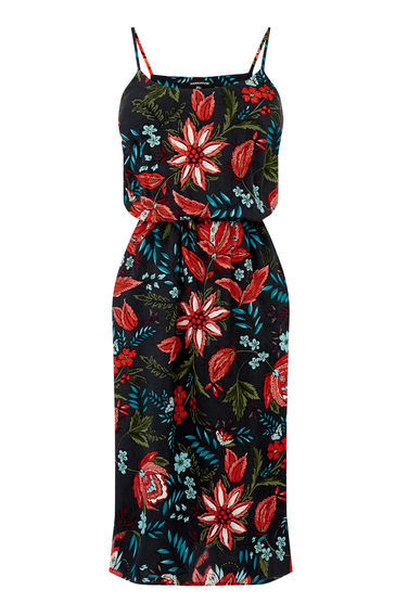 Botanical Drawn Floral Dress - sleeve style: spaghetti straps; style: sundress; secondary colour: true red; predominant colour: black; occasions: casual, evening; length: on the knee; fit: body skimming; fibres: viscose/rayon - 100%; sleeve length: sleeveless; neckline: medium square neck; pattern type: fabric; pattern size: big & busy; pattern: florals; texture group: other - light to midweight; multicoloured: multicoloured; season: s/s 2016; wardrobe: highlight
