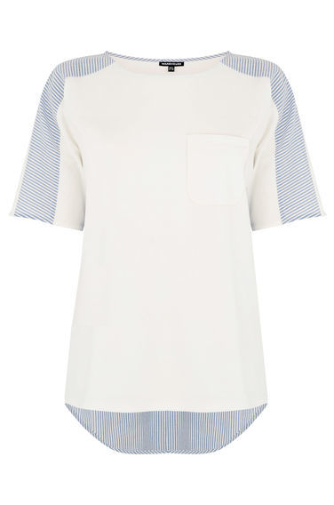 Poplin Mix Tee - pattern: striped; style: t-shirt; predominant colour: white; secondary colour: pale blue; occasions: casual; length: standard; fibres: cotton - 100%; fit: body skimming; neckline: crew; sleeve length: short sleeve; sleeve style: standard; pattern type: fabric; pattern size: standard; texture group: jersey - stretchy/drapey; multicoloured: multicoloured; season: s/s 2016