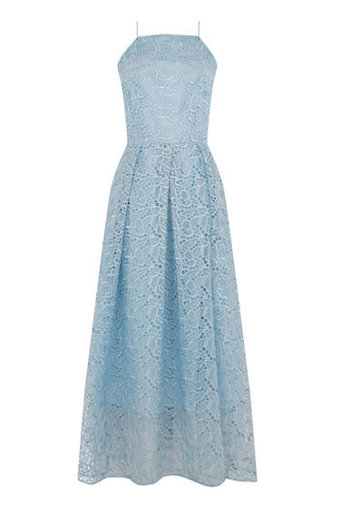 Strappy Lace Midi Dress - length: calf length; neckline: high square neck; sleeve style: spaghetti straps; predominant colour: pale blue; occasions: evening; fit: fitted at waist & bust; style: fit & flare; fibres: nylon - mix; sleeve length: sleeveless; texture group: lace; pattern type: fabric; pattern size: standard; pattern: patterned/print; embellishment: lace; season: s/s 2016; wardrobe: event