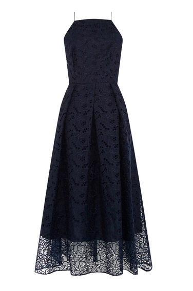 Strappy Lace Midi Dress - length: calf length; neckline: high square neck; sleeve style: spaghetti straps; predominant colour: navy; occasions: evening; fit: fitted at waist & bust; style: fit & flare; fibres: nylon - mix; sleeve length: sleeveless; texture group: lace; pattern type: fabric; pattern size: standard; pattern: patterned/print; season: s/s 2016; wardrobe: event