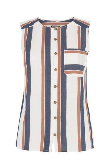 Stripe Sleeveless Shirt - pattern: horizontal stripes; sleeve style: sleeveless; style: shirt; secondary colour: white; predominant colour: navy; occasions: casual, creative work; length: standard; neckline: collarstand; fit: body skimming; sleeve length: sleeveless; pattern type: fabric; texture group: jersey - stretchy/drapey; fibres: viscose/rayon - mix; pattern size: big & busy (top); season: s/s 2016; trends: graphic stripes; wardrobe: basic