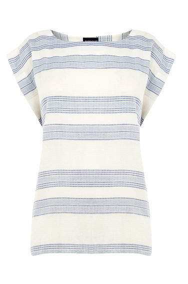 Textured Stripe T Shirt - pattern: horizontal stripes; style: t-shirt; predominant colour: white; secondary colour: pale blue; occasions: casual; length: standard; fibres: cotton - mix; fit: body skimming; neckline: crew; sleeve length: short sleeve; sleeve style: standard; pattern type: fabric; texture group: other - light to midweight; multicoloured: multicoloured; season: s/s 2016; wardrobe: highlight
