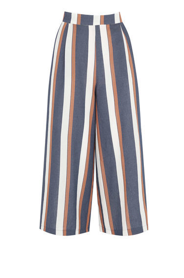 Stripe Culottes - pattern: striped; waist: high rise; predominant colour: denim; occasions: casual, creative work; fibres: cotton - 100%; waist detail: feature waist detail; pattern type: fabric; texture group: woven light midweight; pattern size: big & busy (bottom); season: s/s 2016; style: culotte; length: below the knee; fit: baggy; wardrobe: highlight