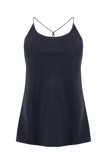 Cross Back Cami Top - sleeve style: spaghetti straps; pattern: plain; style: camisole; predominant colour: navy; occasions: casual, holiday; length: standard; neckline: scoop; fibres: viscose/rayon - 100%; fit: body skimming; back detail: crossover; sleeve length: sleeveless; pattern type: fabric; texture group: jersey - stretchy/drapey; season: s/s 2016; wardrobe: basic