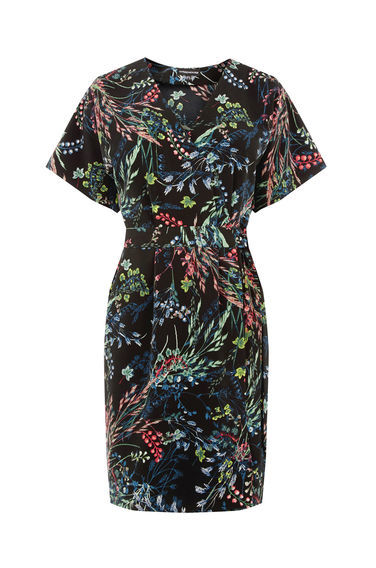 Meadow Floral Wrap Dress - style: faux wrap/wrap; neckline: v-neck; sleeve style: sleeveless; secondary colour: hot pink; predominant colour: black; occasions: evening; length: just above the knee; fit: body skimming; fibres: polyester/polyamide - 100%; sleeve length: short sleeve; pattern type: fabric; pattern: florals; texture group: other - light to midweight; multicoloured: multicoloured; season: s/s 2016; wardrobe: event