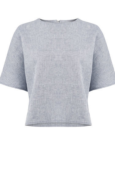 Linen Boxy Top - pattern: plain; predominant colour: light grey; occasions: casual; length: standard; style: top; fibres: linen - 100%; fit: body skimming; neckline: crew; sleeve length: short sleeve; sleeve style: standard; pattern type: fabric; texture group: other - light to midweight; season: s/s 2016; wardrobe: basic