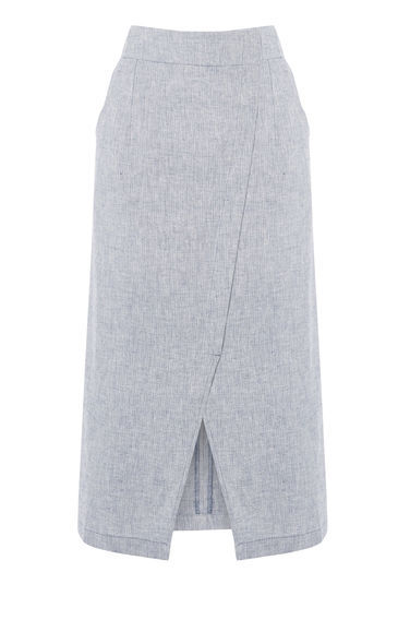 Linen Wrap Midi Skirt - length: below the knee; pattern: plain; style: wrap/faux wrap; fit: loose/voluminous; waist: high rise; predominant colour: pale blue; occasions: work, creative work; fibres: linen - mix; texture group: linen; pattern type: fabric; season: s/s 2016; wardrobe: highlight
