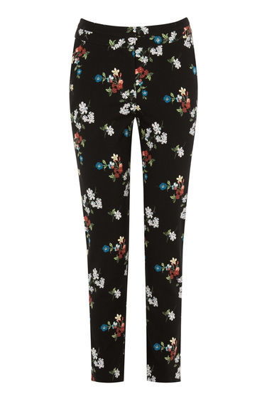 Spaced Floral Slim Trousers - length: standard; waist: mid/regular rise; secondary colour: true red; predominant colour: black; fibres: polyester/polyamide - 100%; fit: slim leg; pattern type: fabric; pattern: florals; texture group: woven light midweight; style: standard; occasions: creative work; pattern size: standard (bottom); multicoloured: multicoloured; season: s/s 2016; wardrobe: highlight