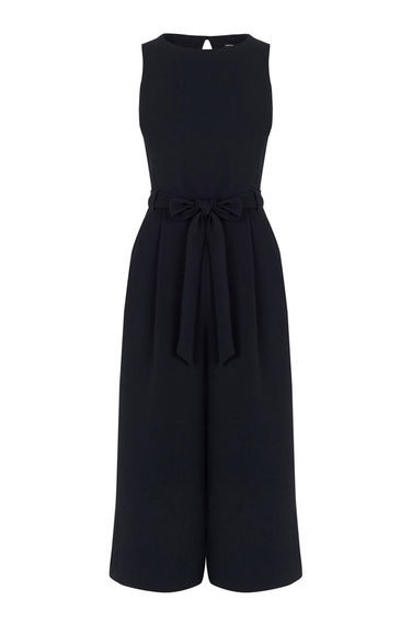 Culotte Jumpsuit - pattern: plain; sleeve style: sleeveless; predominant colour: black; occasions: evening; length: calf length; fit: body skimming; fibres: polyester/polyamide - stretch; neckline: crew; sleeve length: sleeveless; style: jumpsuit; pattern type: fabric; texture group: other - light to midweight; season: s/s 2016; wardrobe: event