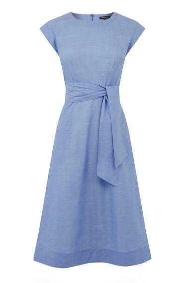 Full Cotton Midi Dress - length: below the knee; sleeve style: capped; pattern: plain; waist detail: belted waist/tie at waist/drawstring; predominant colour: pale blue; occasions: casual, creative work; fit: fitted at waist & bust; style: fit & flare; fibres: cotton - 100%; neckline: crew; sleeve length: short sleeve; texture group: cotton feel fabrics; pattern type: fabric; season: s/s 2016; wardrobe: highlight