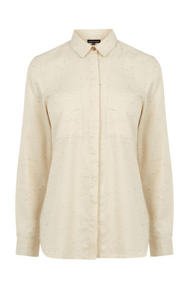 Relaxed Neppy Shirt - neckline: shirt collar/peter pan/zip with opening; pattern: plain; style: shirt; predominant colour: ivory/cream; occasions: casual; length: standard; fibres: viscose/rayon - 100%; fit: body skimming; sleeve length: long sleeve; sleeve style: standard; texture group: cotton feel fabrics; pattern type: fabric; season: s/s 2016; wardrobe: basic