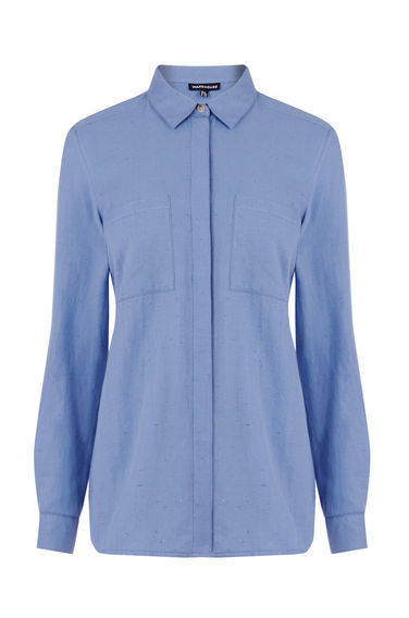 Relaxed Neppy Shirt - neckline: shirt collar/peter pan/zip with opening; pattern: plain; style: shirt; predominant colour: pale blue; occasions: casual; length: standard; fibres: cotton - 100%; fit: body skimming; sleeve length: long sleeve; sleeve style: standard; texture group: cotton feel fabrics; pattern type: fabric; season: s/s 2016