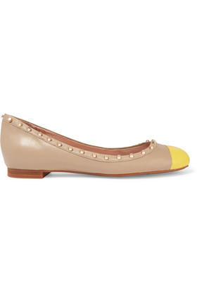 Callan Two Tone Studded Leather Ballet Flats Taupe - secondary colour: yellow; predominant colour: stone; occasions: casual, creative work; material: leather; heel height: flat; embellishment: studs; toe: round toe; style: ballerinas / pumps; finish: plain; pattern: colourblock; season: s/s 2016; wardrobe: highlight