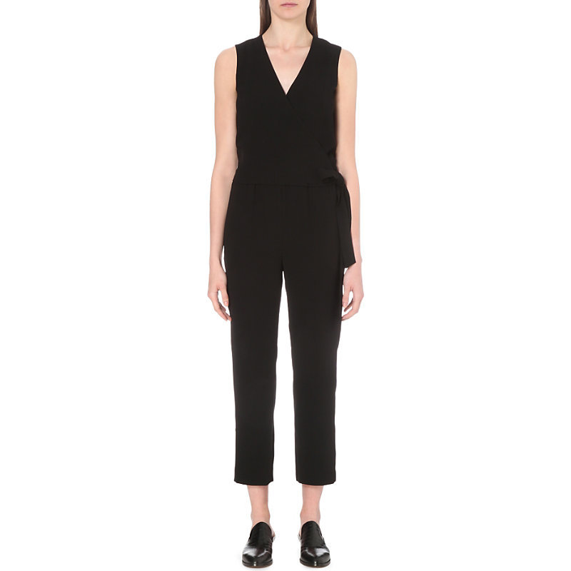 Alvmie Crepe Jumpsuit, Women's, Black - neckline: v-neck; pattern: plain; sleeve style: sleeveless; waist detail: belted waist/tie at waist/drawstring; predominant colour: black; occasions: evening; length: ankle length; fit: body skimming; sleeve length: sleeveless; texture group: crepes; style: jumpsuit; pattern type: fabric; fibres: viscose/rayon - mix; season: s/s 2016