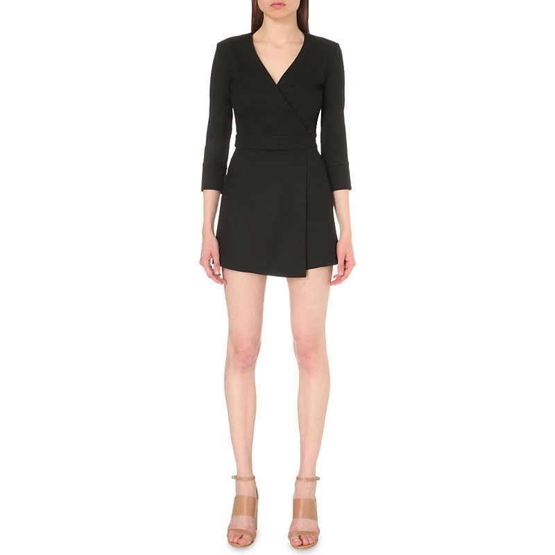 Idem Crepe Playsuit, Women's, Black - neckline: v-neck; fit: fitted at waist; pattern: plain; length: short shorts; predominant colour: black; occasions: evening; fibres: polyester/polyamide - stretch; sleeve length: 3/4 length; sleeve style: standard; texture group: crepes; style: playsuit; pattern type: fabric; season: s/s 2016; wardrobe: event