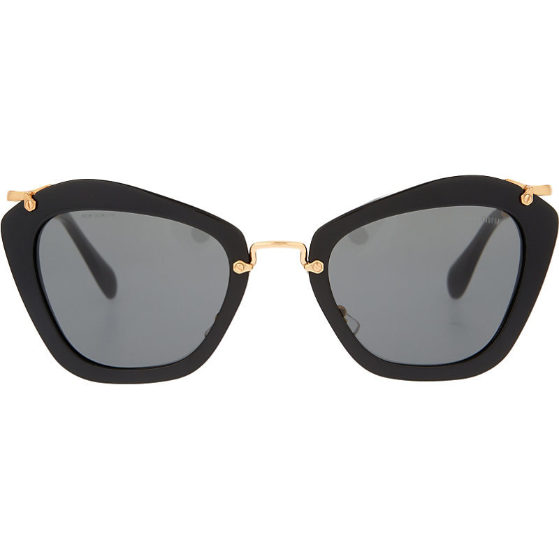 Mu10 Ns Noir Cat Eye Sunglasses, Women's, Black - predominant colour: black; occasions: casual, holiday; style: cateye; size: large; material: plastic/rubber; pattern: plain; finish: plain; season: s/s 2016