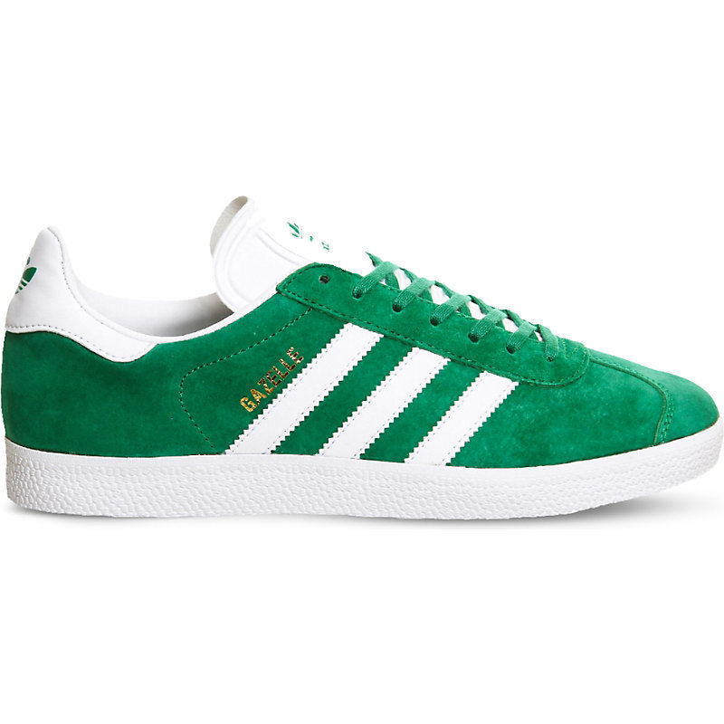 Gazelle Suede Trainers, Women's, Green White - predominant colour: emerald green; occasions: casual; material: suede; heel height: flat; toe: round toe; style: trainers; finish: plain; pattern: striped; season: s/s 2016; wardrobe: highlight