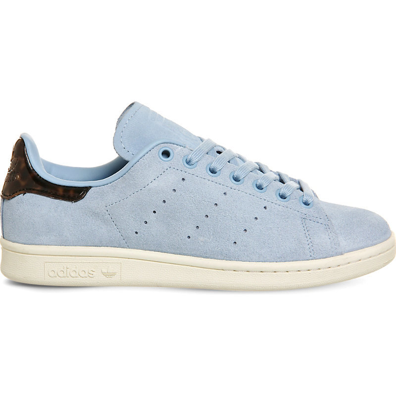 Stan Smith Leather Trainers, Women's, Sky Tortoise Shell - predominant colour: pale blue; occasions: casual; material: suede; heel height: flat; toe: round toe; style: trainers; finish: plain; pattern: plain; season: s/s 2016; wardrobe: highlight