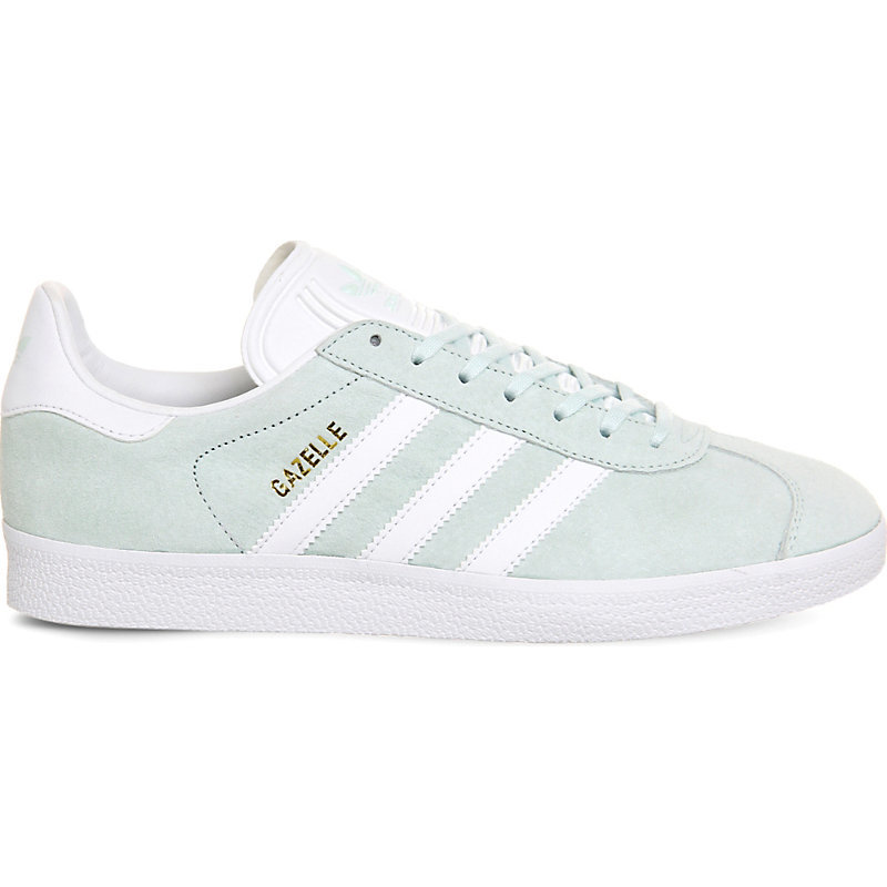 Gazelle Suede Trainers, Women's, Ice Mint White - secondary colour: white; predominant colour: pistachio; occasions: casual; material: suede; heel height: flat; toe: round toe; style: trainers; finish: plain; pattern: striped; season: s/s 2016; wardrobe: highlight