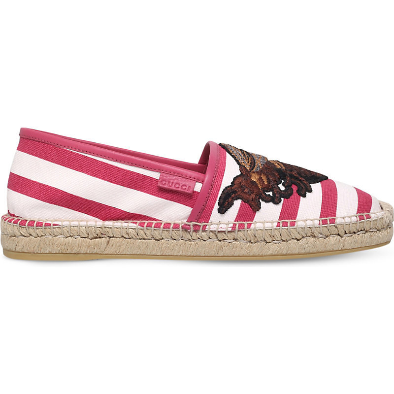 Alejandro Striped Canvas Espadrilles, Women's, White/Red - secondary colour: white; predominant colour: true red; occasions: casual, holiday; material: fabric; heel height: flat; toe: round toe; finish: plain; pattern: striped; style: espadrilles; season: s/s 2016