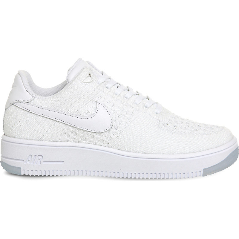 Air Force 1 Flyknit Low Trainers, Women's, White White - predominant colour: white; occasions: casual; material: leather; heel height: flat; toe: round toe; style: trainers; finish: plain; pattern: plain; season: s/s 2016; wardrobe: basic