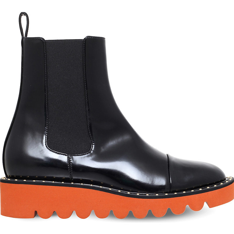 Odette Faux Leather Ankle Boots, Women's, Eur 37 / 4 Uk Women, Black - secondary colour: bright orange; predominant colour: black; occasions: casual; material: leather; heel height: flat; heel: block; toe: round toe; boot length: ankle boot; style: standard; finish: patent; pattern: plain; shoe detail: platform with tread; season: s/s 2016