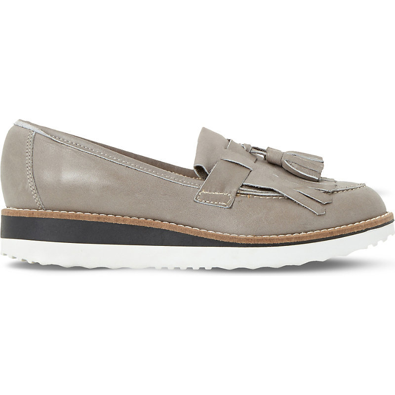 Gallaxie Leather Flatform Loafers, Women's, Eur 39 / 6 Uk Women, Pale Grey - predominant colour: light grey; occasions: casual, creative work; material: leather; heel height: flat; embellishment: tassels; toe: round toe; style: loafers; finish: plain; pattern: plain; season: s/s 2016