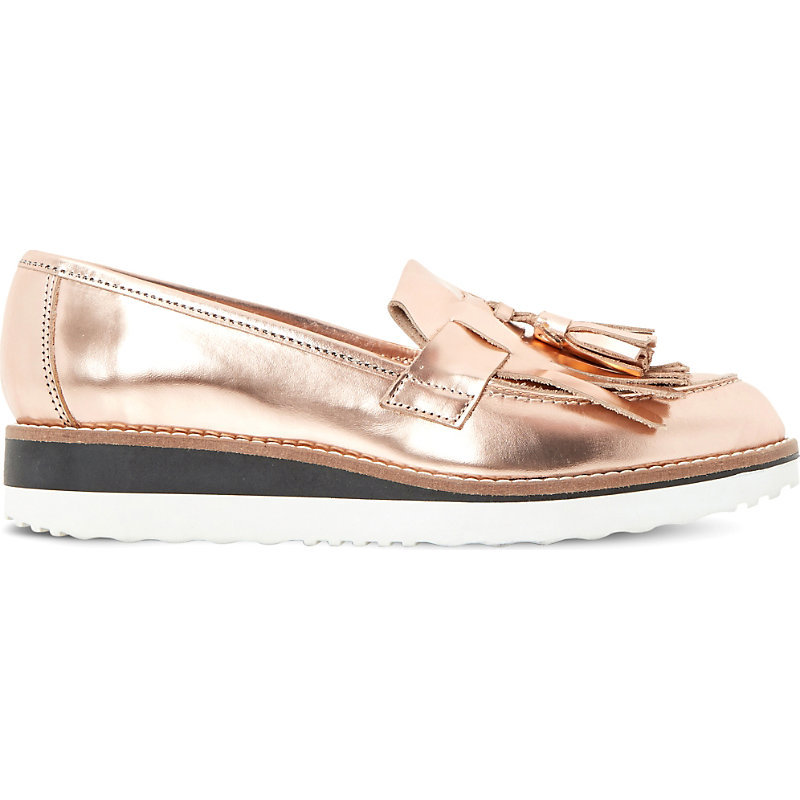 Gallaxie Metallic Leather Flatform Loafers, Women's, Eur 41 / 8 Uk Women, Rose Gold Metallic - predominant colour: gold; occasions: casual; material: leather; heel height: flat; embellishment: tassels; toe: round toe; style: flatforms; finish: metallic; pattern: plain; shoe detail: platform with tread; season: s/s 2016; wardrobe: highlight