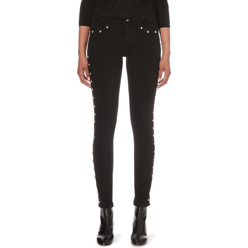 Presley Skinny Mid Rise Jeans, Women's, Noir - style: skinny leg; length: standard; pattern: plain; pocket detail: traditional 5 pocket; waist: mid/regular rise; predominant colour: black; occasions: casual; fibres: cotton - mix; texture group: denim; pattern type: fabric; season: s/s 2016