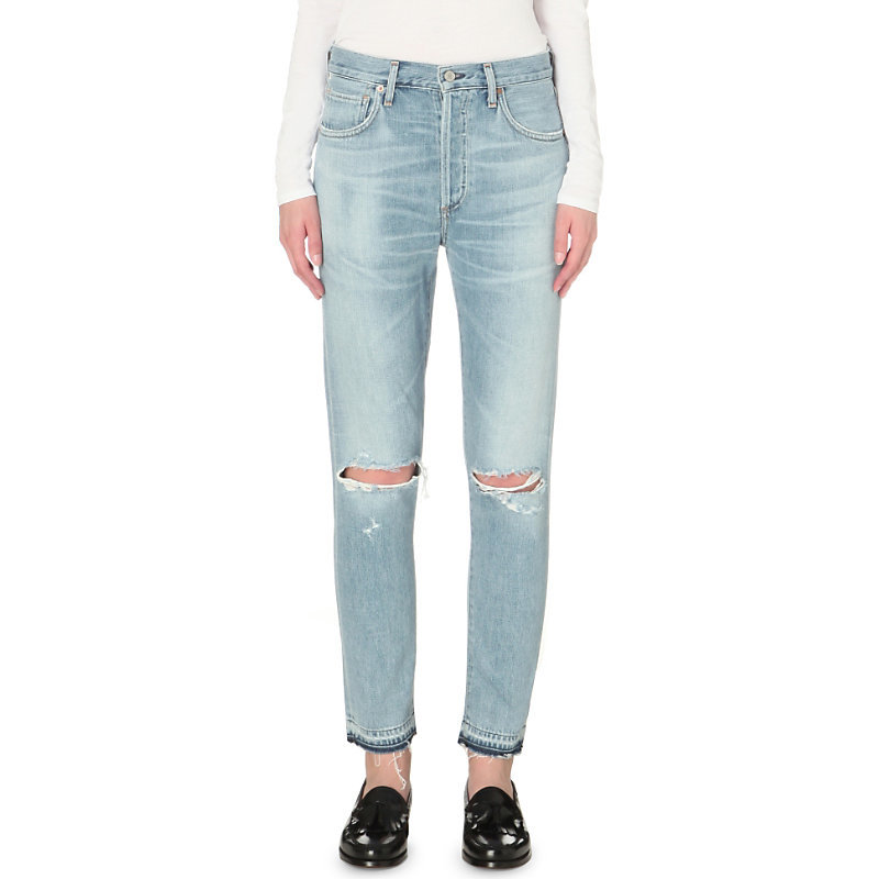 Liya Classic Fit High Rise Released Hem Jeans, Women's, Torn - length: standard; pattern: plain; waist: high rise; pocket detail: traditional 5 pocket; style: slim leg; predominant colour: denim; occasions: casual; fibres: cotton - 100%; jeans detail: whiskering, shading down centre of thigh, rips; texture group: denim; pattern type: fabric; season: s/s 2016; wardrobe: basic