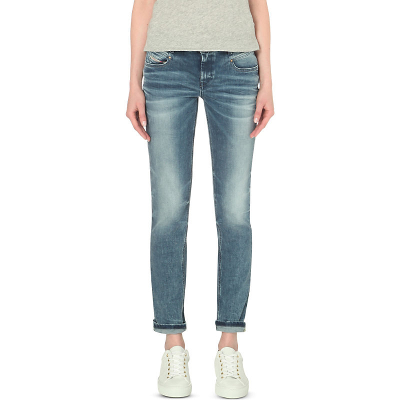 Belthy Slim Fit Low Rise Turn Up Jeans, Women's, 0853l - style: boyfriend; length: standard; pattern: plain; waist: low rise; pocket detail: traditional 5 pocket; predominant colour: denim; occasions: casual; fibres: cotton - stretch; jeans detail: whiskering, shading down centre of thigh, washed/faded; jeans & bottoms detail: turn ups; texture group: denim; pattern type: fabric; season: s/s 2016